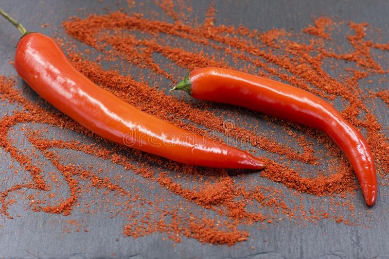 Raw red chili peppers and ground paprika stock image