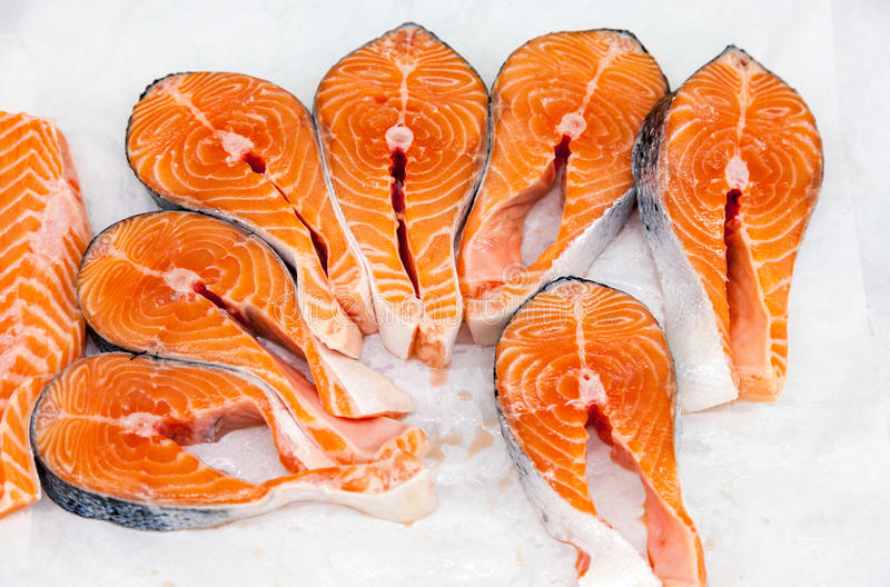 Raw red fish is sliced, ready for sale stock photography