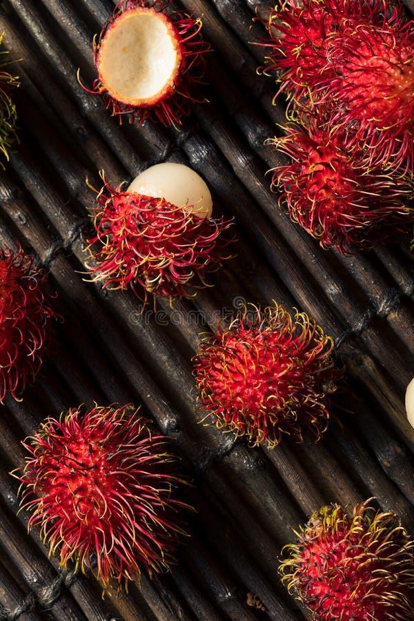 Raw Red Organic Rambutan Fruit royalty free stock photos