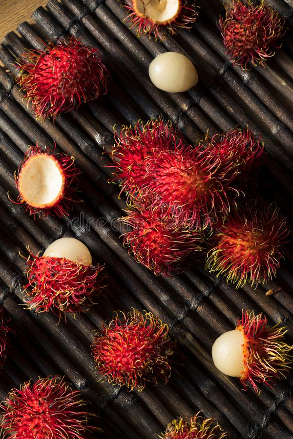 Raw Red Organic Rambutan Fruit. Ready to Eat royalty free stock photography