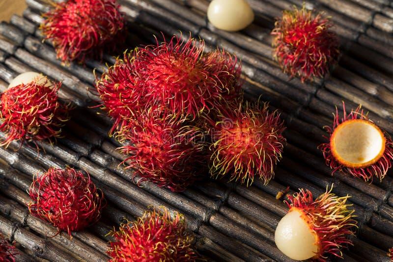 Raw Red Organic Rambutan Fruit. Ready to Eat stock photo