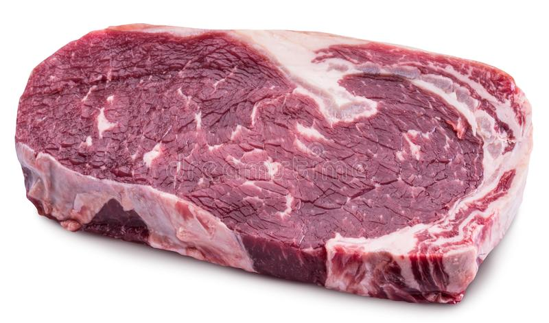 Raw Ribeye steak or beef steak on white background. Clipping pat. Raw Ribeye steak or beef steak on white background. File contains clipping path royalty free stock images
