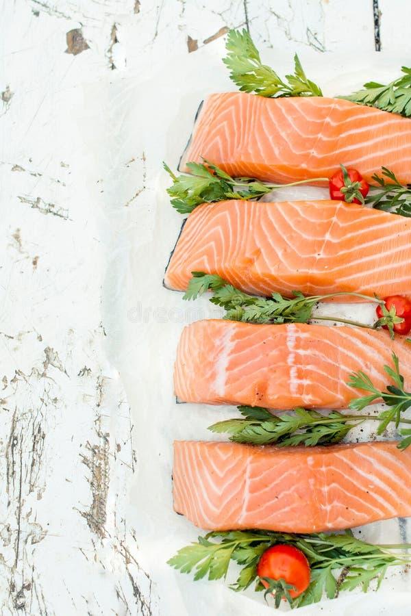 Raw salmon fish stock images