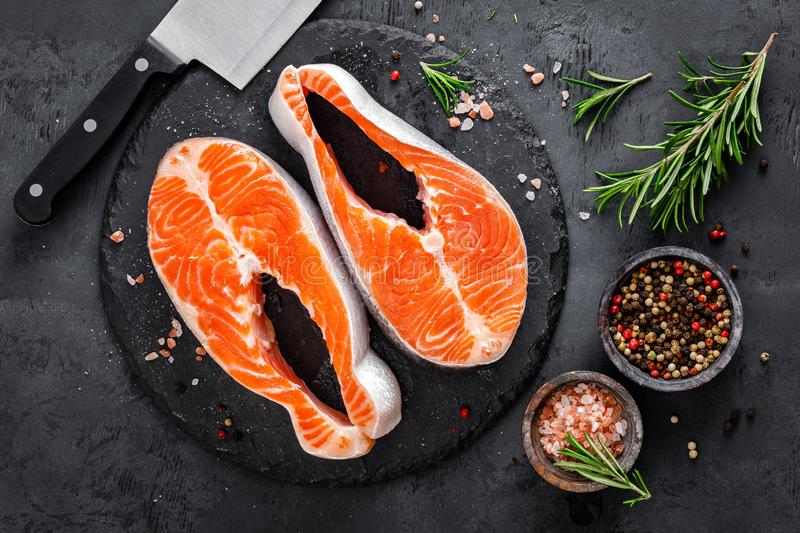 Raw salmon fish steaks royalty free stock images