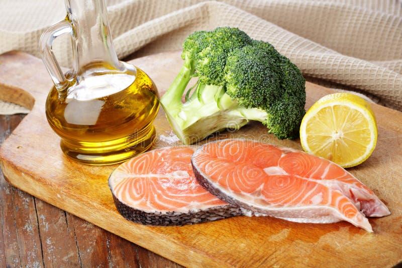 Raw salmon steaks royalty free stock photo