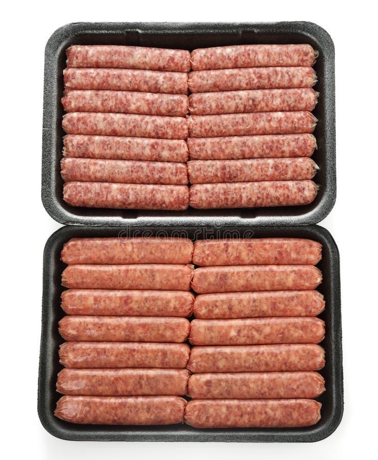 Raw Sausage Links. Raw Breakfast Sausage Links In Meat Trays stock photo