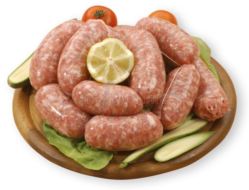 Raw sausages royalty free stock photos