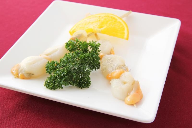 Raw scallop set. On a plate royalty free stock photography