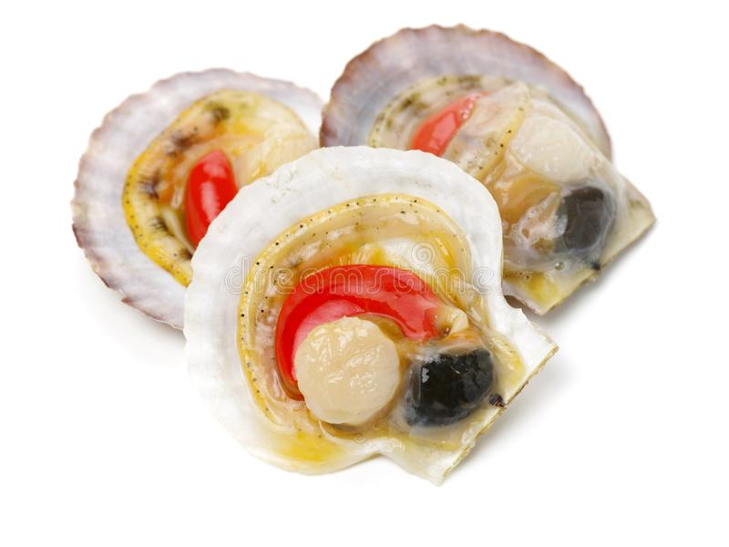 Raw scallop. On white background royalty free stock images
