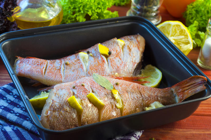 Raw sea bass in a baking. Raw sea bass in a pan ready for baking stock photos