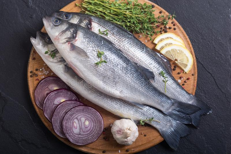 Raw sea bass fish. Cooking fresh seabass royalty free stock images