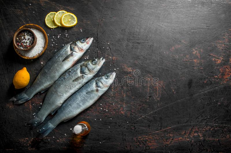 Raw sea bass fish with sliced lemon and spices. On dark rustic background stock images