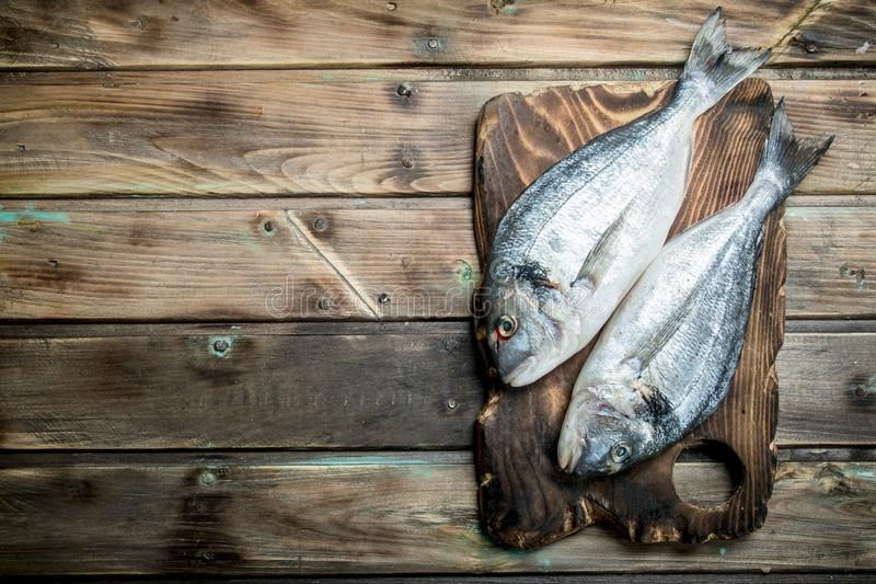 Raw sea fish dorado on a cutting Board. On a wooden background stock image