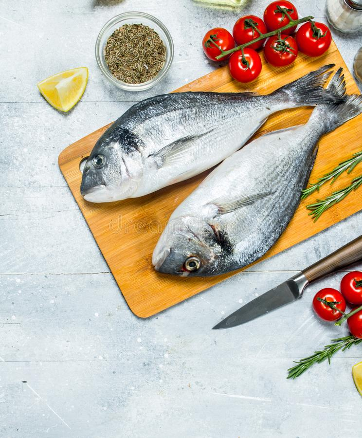 Raw sea fish dorado with spices and tomatoes. On a rustic background royalty free stock photos