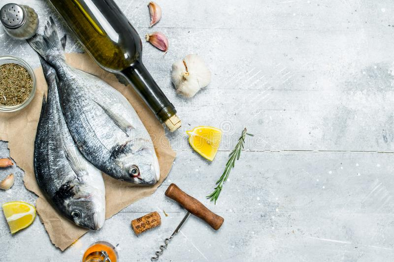 Raw sea fish dorado with white wine and spices. On a rustic background stock photos