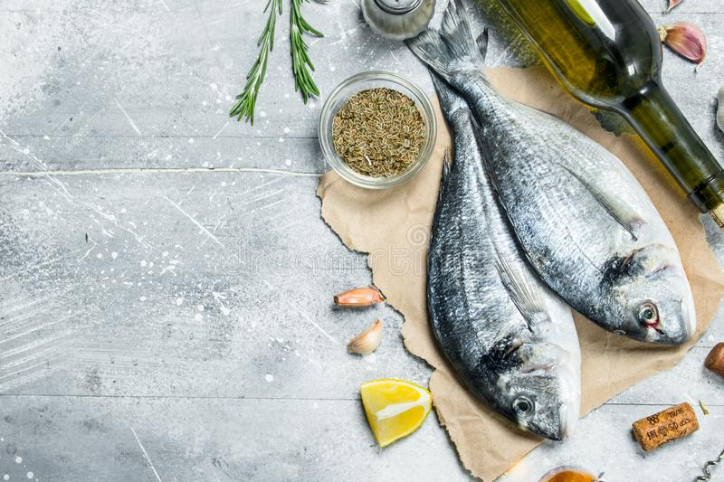 Raw sea fish dorado with white wine and spices. On a rustic background royalty free stock photos
