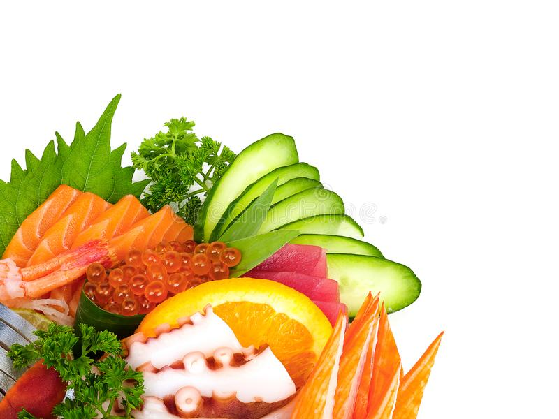 Raw sea food set. Assortment of raw sea food set or shashimi in Japanese, isolated on white background stock image