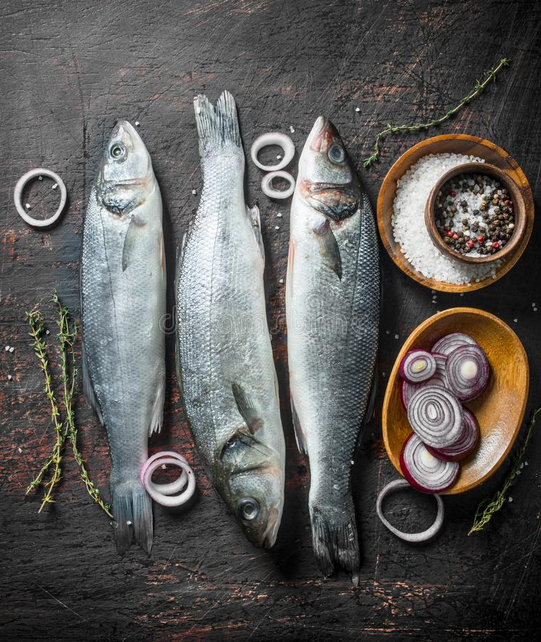 Raw seabass fish with sliced onions, spices and thyme. On dark rustic background stock photos