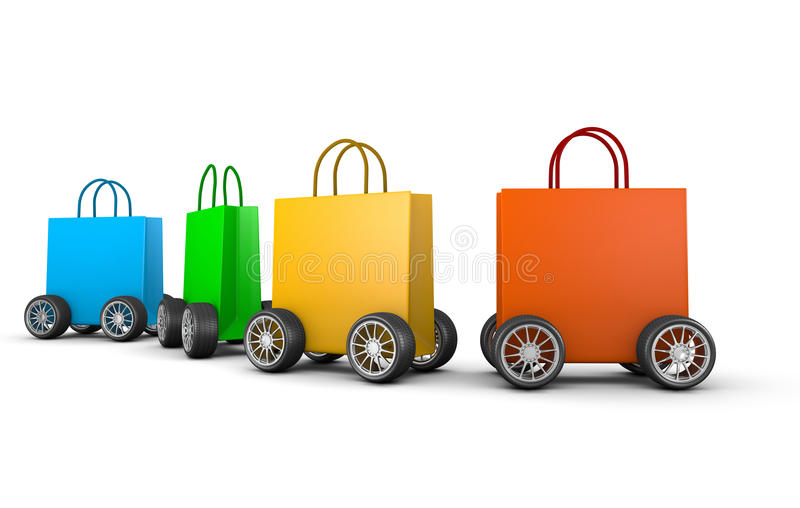 Raw of Shopping Bags with Wheels. Colorful Shopping Bags with Wheels Aligned on White Background 3D Illustration vector illustration