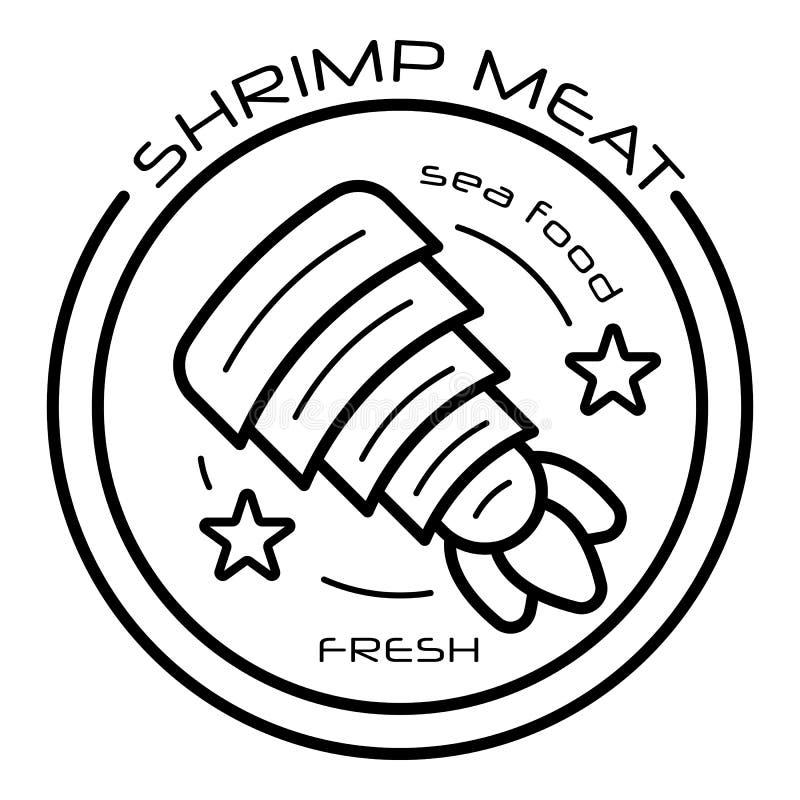 Raw shrimp meat logo, outline style royalty free illustration