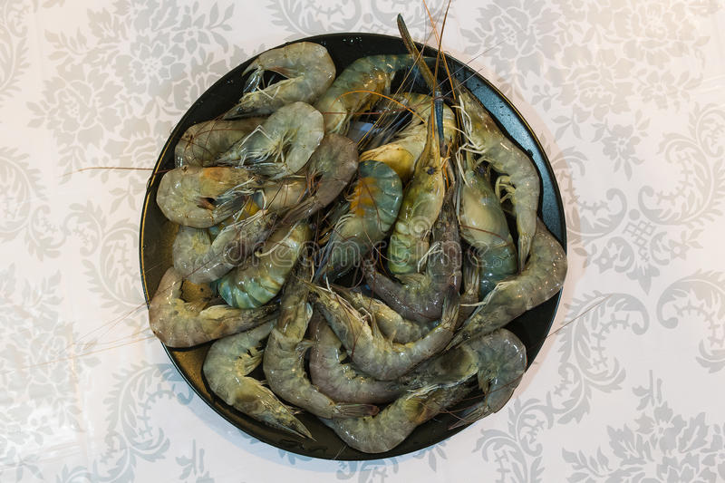 Raw shrimp in a plate stock images