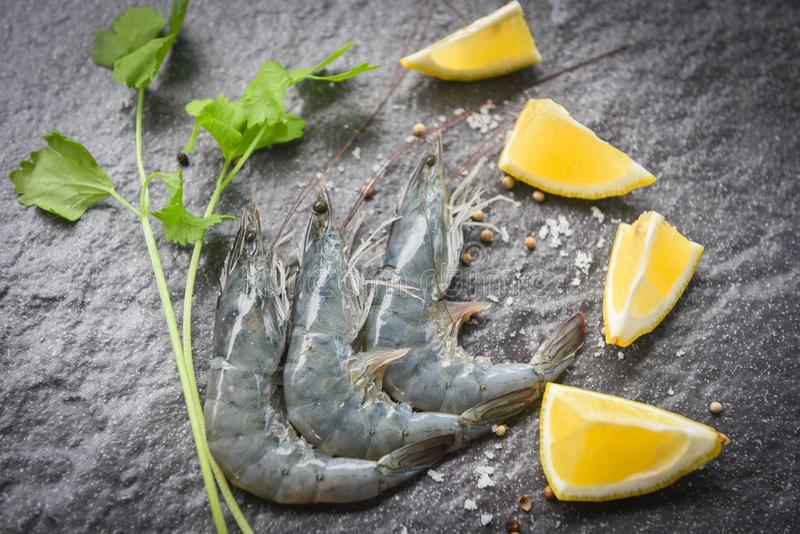Raw shrimps on the dark plate - fresh shrimp prawns with spices lemon and celery on dark background in the seafood restaurant royalty free stock image