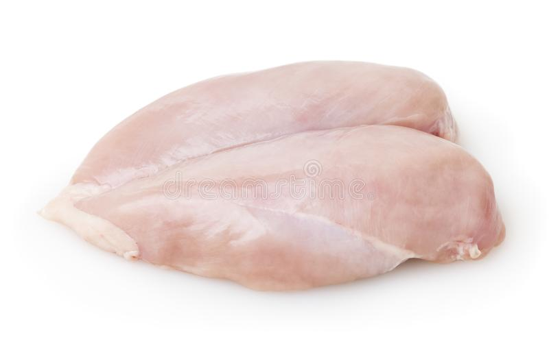 Raw skinless chicken breast fillet isolated on white background. With clipping path stock photo