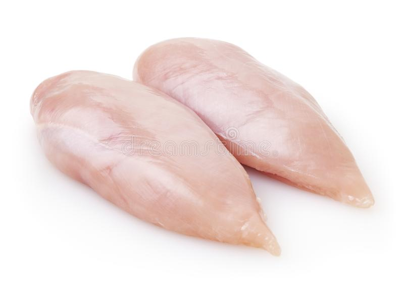 Raw skinless chicken breast fillet isolated on white background. With clipping path stock images