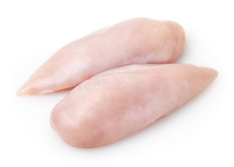 Raw skinless chicken breast fillet on white background. With clipping path stock image