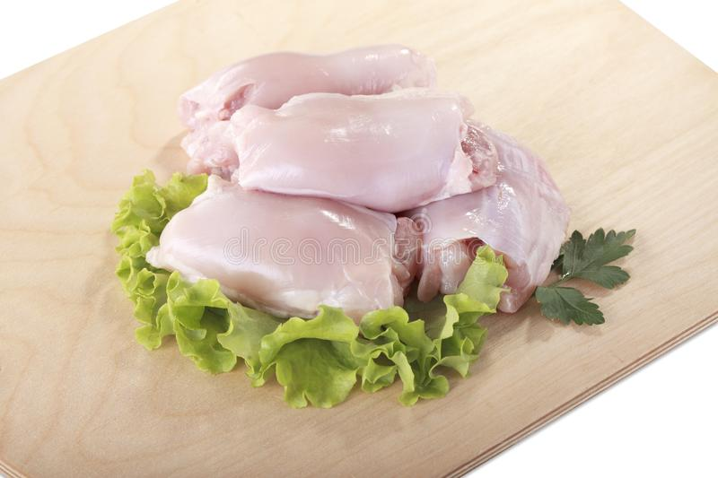 Raw skinless chicken breast fillets.  royalty free stock photo