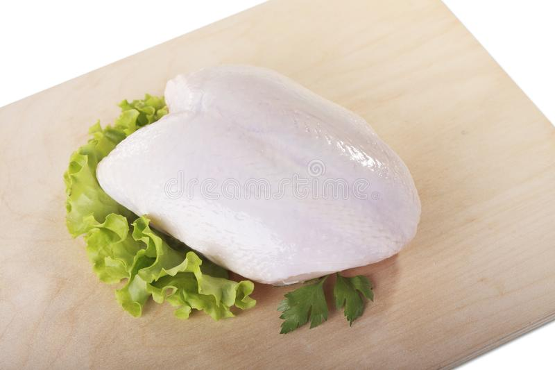 Raw skinless chicken breast fillets.  royalty free stock images