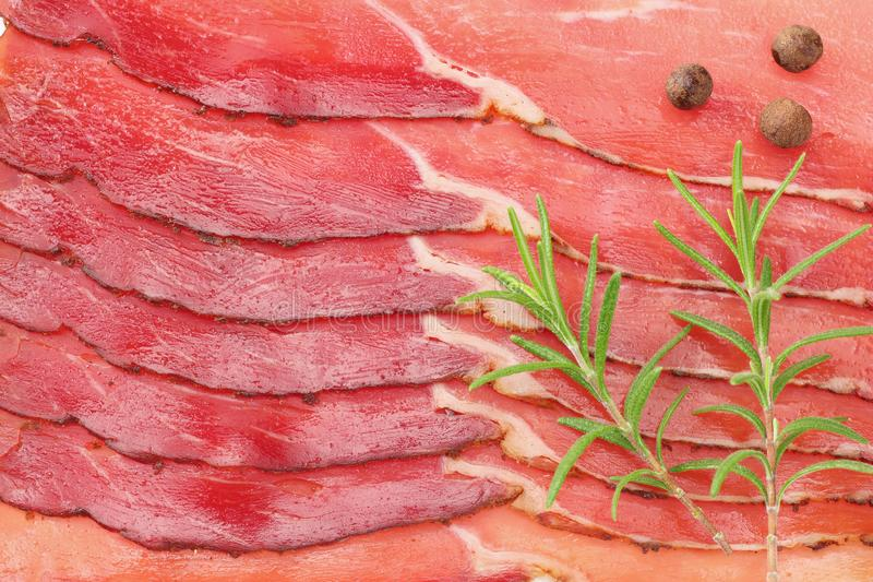 Raw smoked black forest ham background. ham texture. top view. macro stock photo