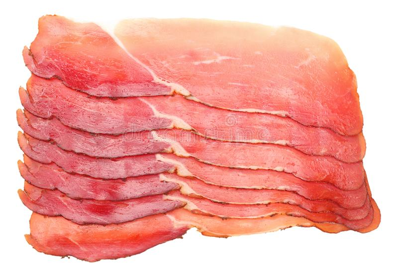 Raw smoked black forest ham isolated on white background. top view royalty free stock photos