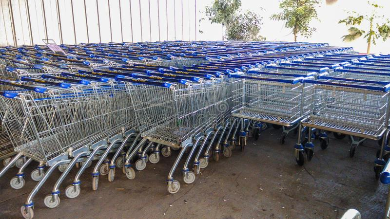 Raw of stacked trolly Supermaket or mall royalty free stock images