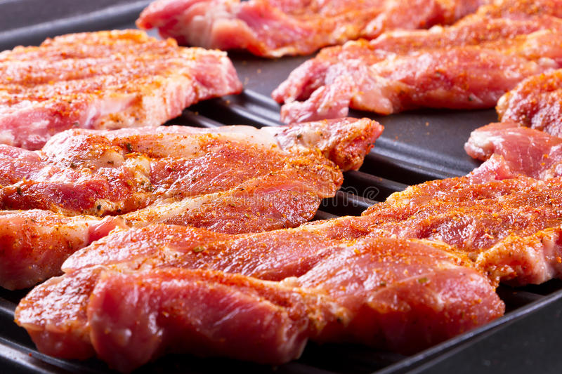 Download Raw steak meat on barbecue stock image. Image of barbecue - 26284059