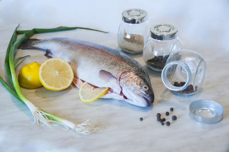 Raw trout with green onion, slices of lemon, three jars with spices on a marble background. Fresh fish dish. stock photography