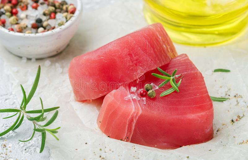 Raw Tuna fish steaks royalty free stock image