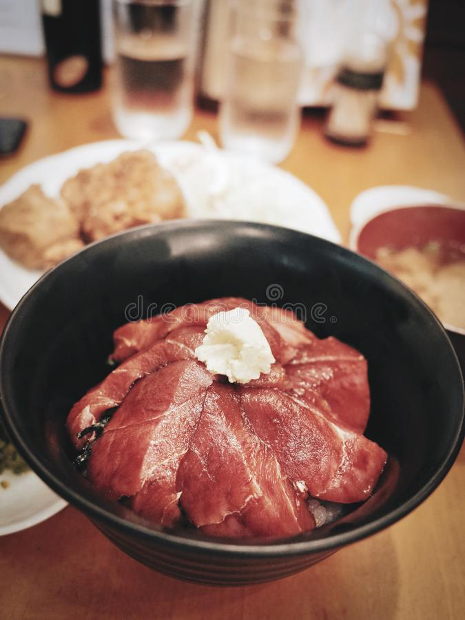 Raw Tuna or Maguro in Japanese with Rice Bowl royalty free stock photos