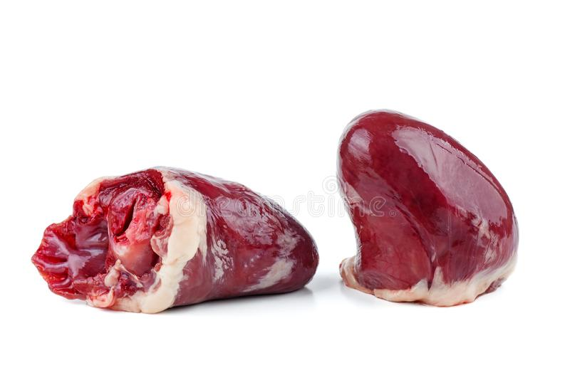 Raw turkey or chicken hearts stock photography
