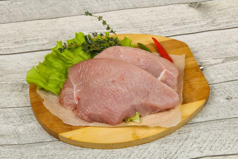 Raw turkey steak. Ready for grill stock photo