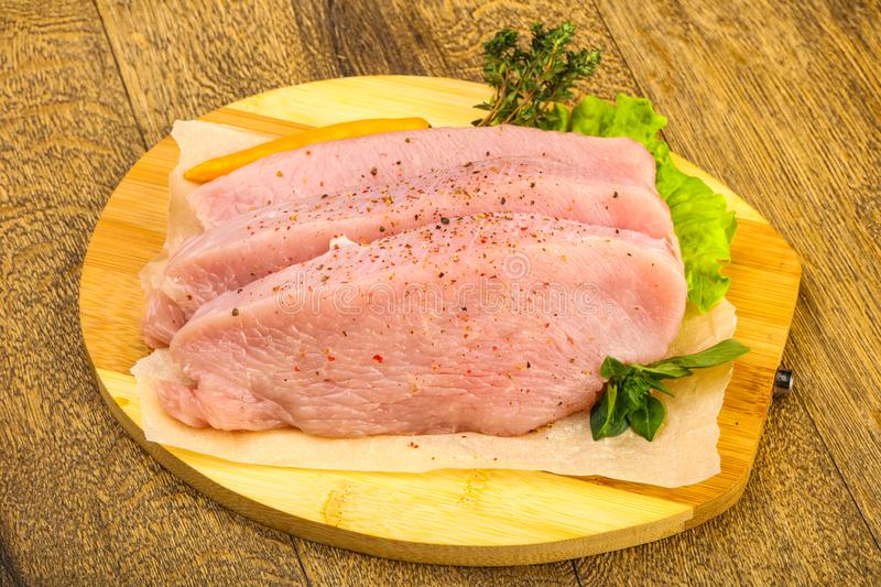 Raw turkey steak. With spices ready for grill royalty free stock image