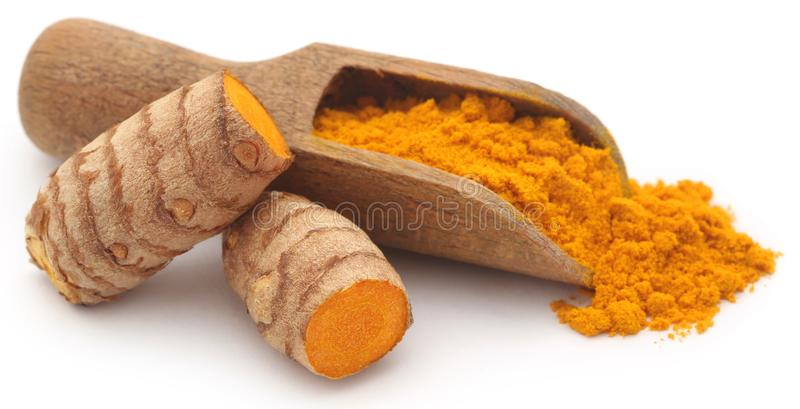 Raw turmeric with powder. In a wooden scoop over white background stock image