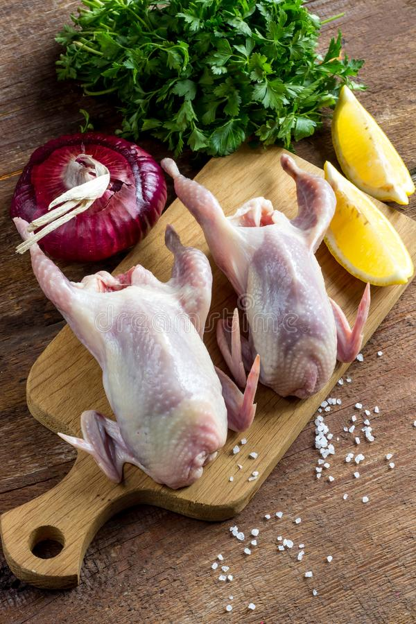 Raw uncooked quail meat royalty free stock images