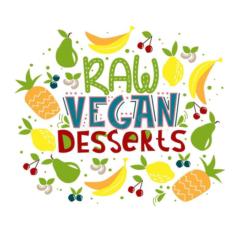 Raw vegan dessert stock illustration
