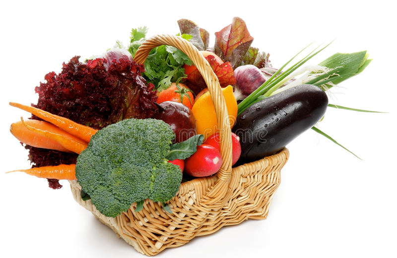 Raw Vegetable Basket stock images