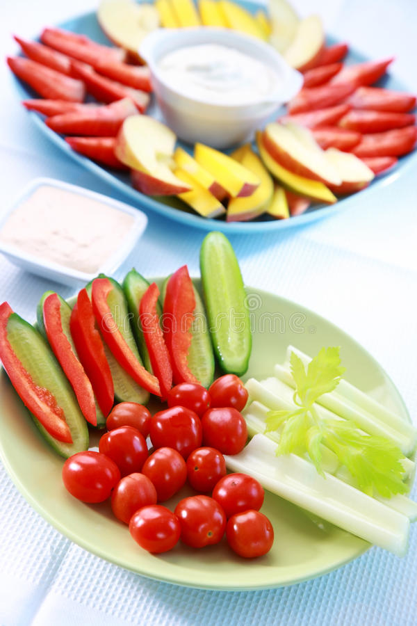 Download Raw Vegetable And Fruits With Dip Royalty Free Stock Image - Image: 22883846