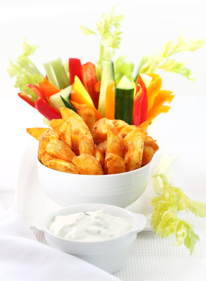 Download Raw Vegetable And Wedges With Dip Stock Photos - Image: 22822073