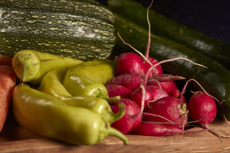 Raw vegetables of green and red color. stock images