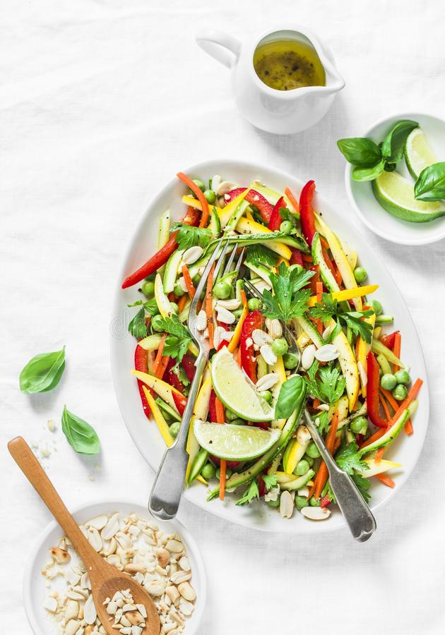 Raw vegetables Pad Thai salad on light background royalty free stock photo