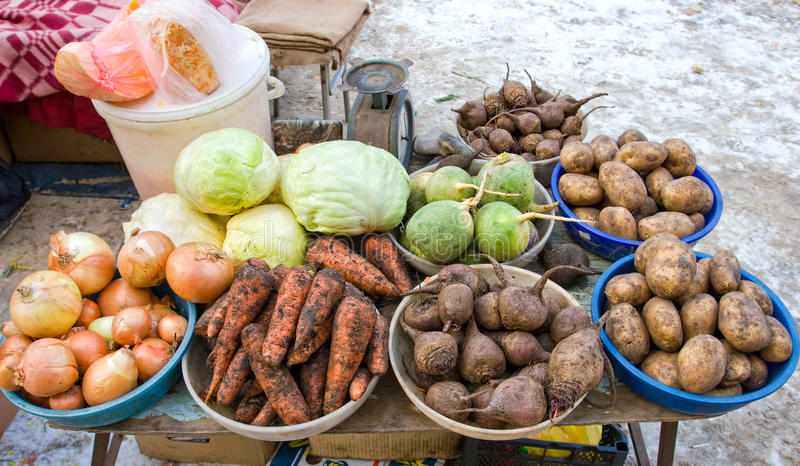 Raw vegetables ready for sale at the local street market royalty free stock photos
